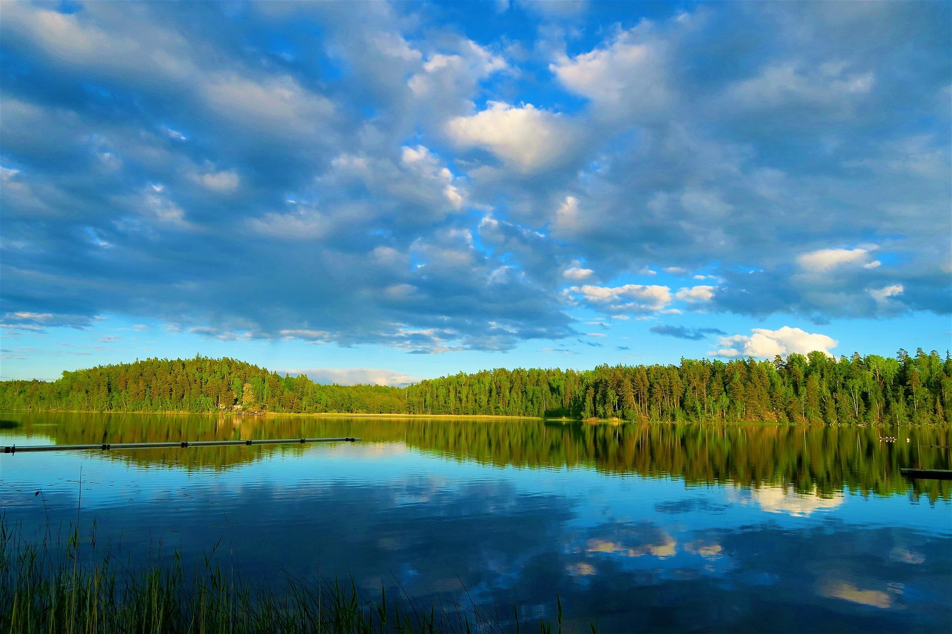 Zdjęcie przedstawia błękitne jezioro w którym odbija się zielony las.