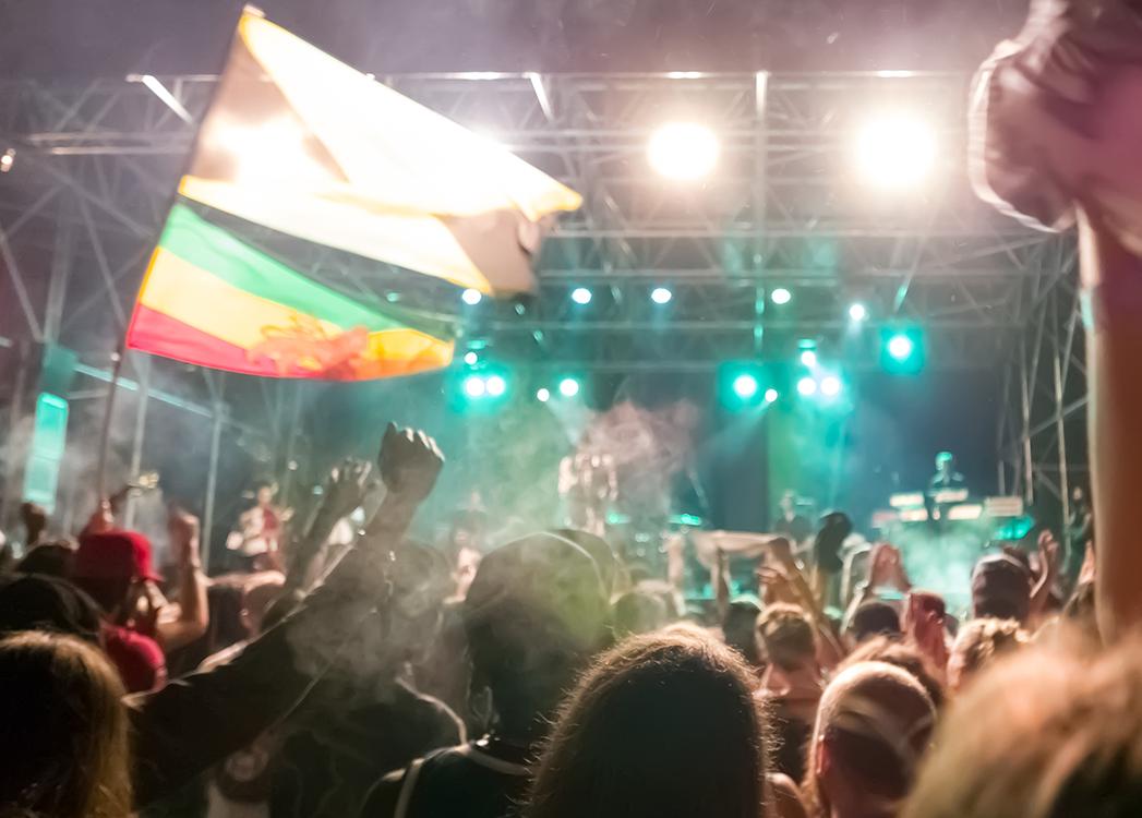 Zdjęcie przedstawia Reggae Festival okiem osoby będącej pośrodku tłumu bawiących się ludzi. Słuchający muzyki mają uniesione do góry ręce, w powietrzu powiewają kolorowe flagi, a w oddali scen oświetlona jest na turkusowo.