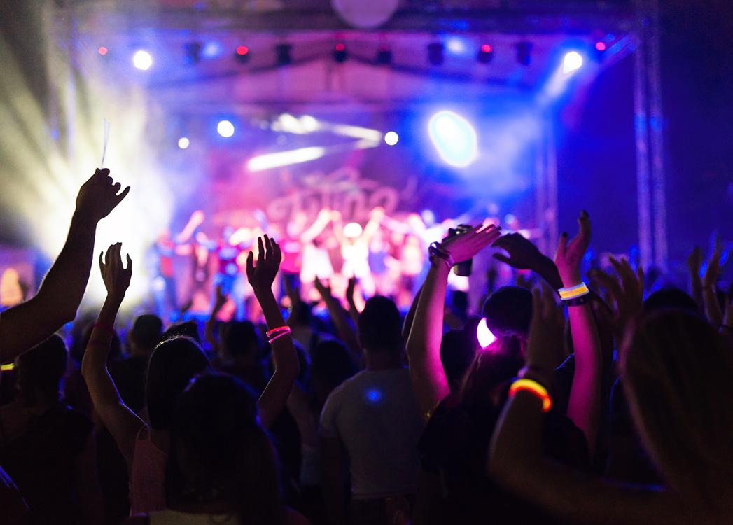 Zdjęcie przedstawia koncert okiem osoby będącej pośrodku tłumu bawiących się ludzi. Słuchający muzyki mają uniesione do góry ręce, na których mają świecące w ciemności opaski.