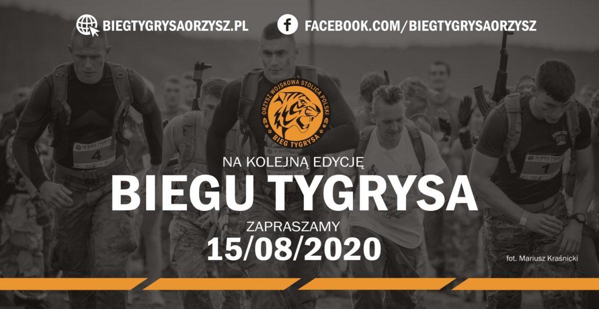 Na zdjęciu widać biegnących uczestników Biegu Tygrysa oraz datę biegu, domenę strony internetowej imprezy i domenę Facebooka.