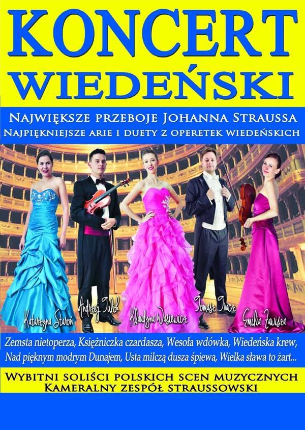 Zdjęcie - Plakat na którym jest widocznych 5 osób, trzy kobiety i dwóch muzyków, ubranych w strojach galowych, zapraszających na koncert w Olsztynie.