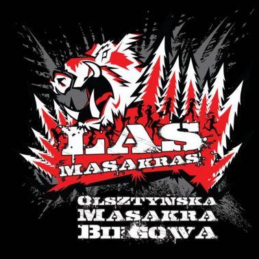 Plakat graficzny reklamujący imprezę III Bieg Las Masakras w Olsztynie 2020. Grafika przedstawia las w kolorze czerwonym, biegnących ludzi na tle lasu oraz napisy reklamujące imprezę.