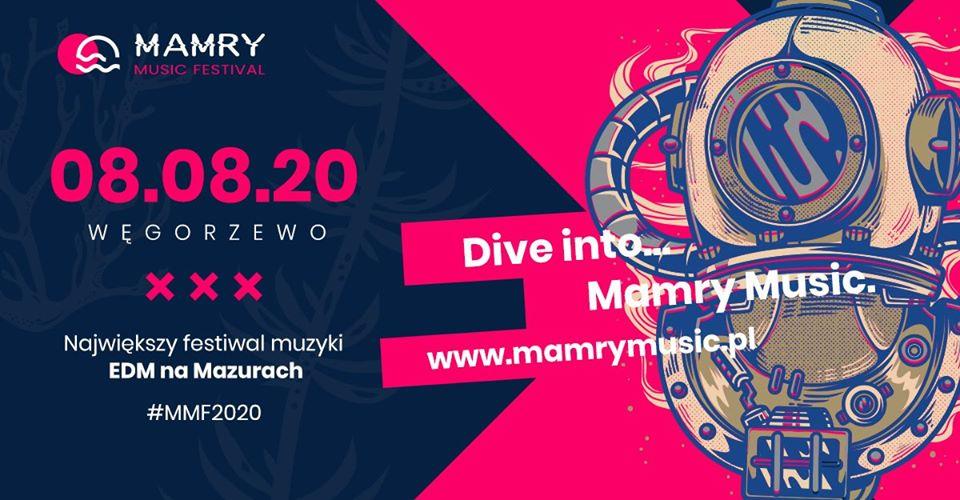 Zdjęcie do plakat zapraszający na imprezę Mamry Music Festiwal 2020. Na plakacie jest dodana informacja kiedy się rozpoczyna koncert, strona internetowa festiwalu oraz grafika z prawej strony plakatu przedstawiająca strój nurka.