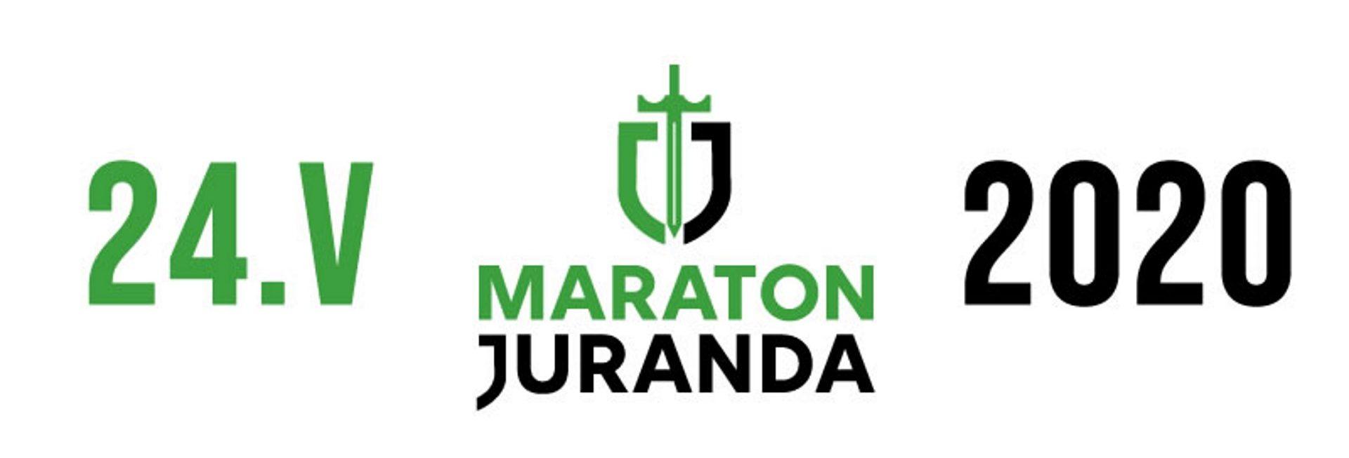 Plakat zapraszający do Szczytna na 31 edycję Maratonu Juranda. Plakat graficzny z logiem Maratonu i datą rozpoczęcia imprezy.