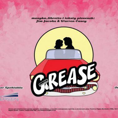 Zdjęcie - plakat zapraszający na przedstawienie Musical Grease w Olecko. Plakat posiada różowe tło na którym widoczna jest w formie graficznej para w samochodzie.