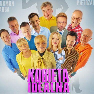 Zdjęcie - plakat na którym widoczni są wszyscy aktorzy występujący w spektaklu teatralnym, Kobieta Idealna w Ostródzie.