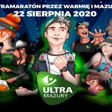 Zdjęcie przedstawia animowane postacie zapraszające do uczestnictwa w Ultra Maratonie w Starych Jabłonkach. Na zdjęciu widoczny jest biegacz i biegaczka z plecakami, kucharze którzy informują, że dla uczestników będą dodatkowe posiłki oraz rodzina z koszek świeżych jabłek.