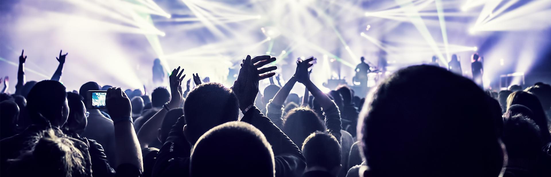 Zdjęcie ilustracja przedstawiająca widownię podczas koncertu muzycznego.