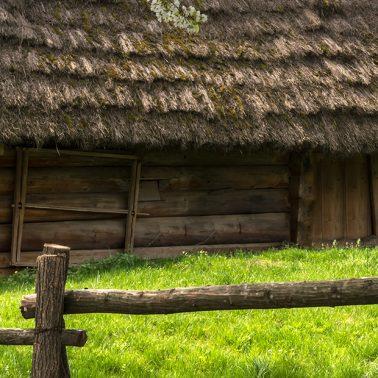 Zdjęcie - ilustracja przedstawiająca starą chatę mazurską.