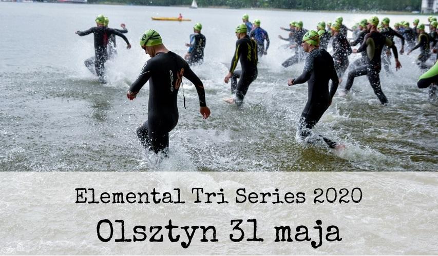 Plakat zdjęcie zapraszające na zawody Triathlon Elemental Tri Series Olsztyn 2020. Na zdjęciu zawodnicy startujący do zawodów w dyscyplinie pływanie.