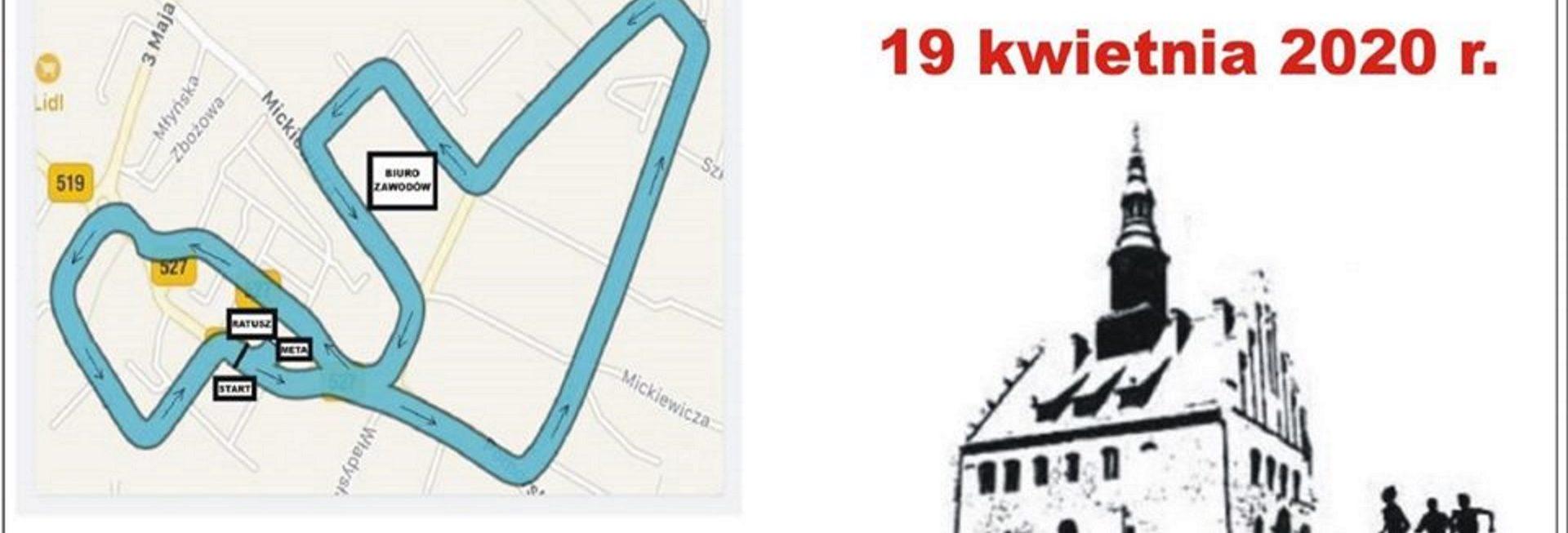 Zdjęcie, plakat zapraszający na 19 kwietnia 2020 roku do Morąga na 8 edycję Biegu Szlakiem Morąskich Zabytków. Plakat przedstawia graficzny zarys trasy biegu, napisy zapraszające na bieg oraz graficzny rysunek Ratusza w Morągu.