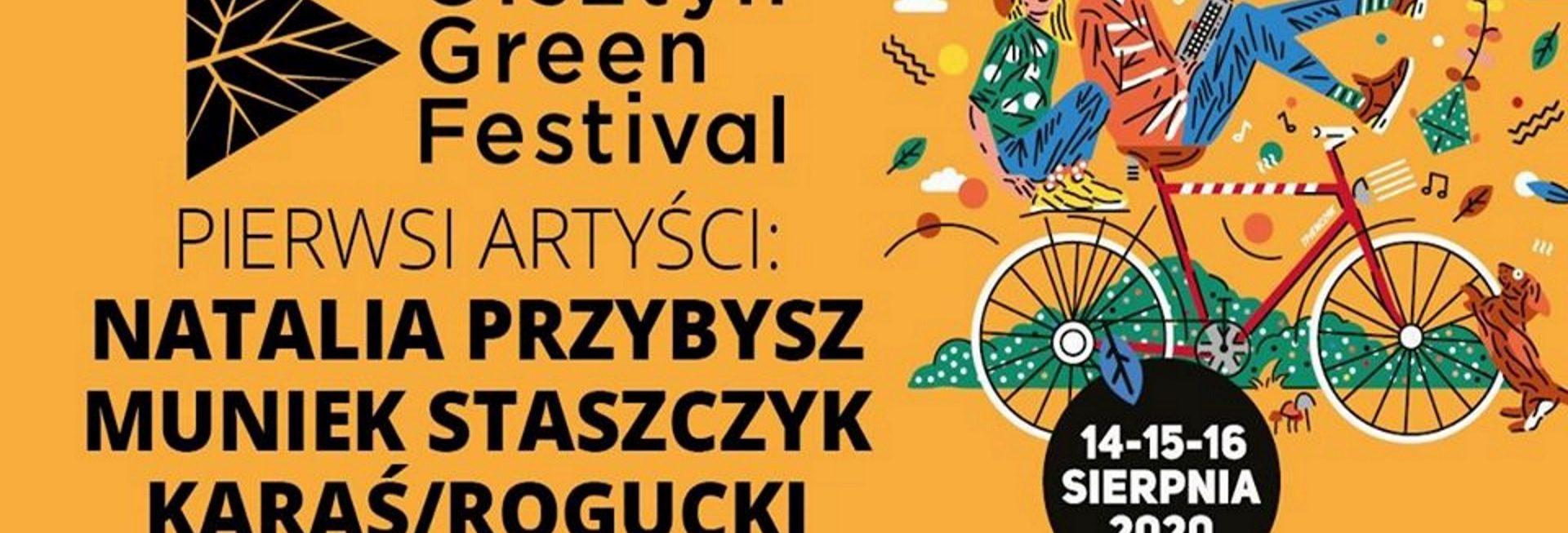 Plakat zapraszający w dniach 14-16 sierpnia do Olsztyna na 7. edycję Olsztyńskiego Green Festivalu 2020. Tło plakatu pomarańczowe z napisami informującymi kiedy zaczyna się festival oraz kto zagra na scenie. Dodatkowa grafika pary jadącej na rowerze.