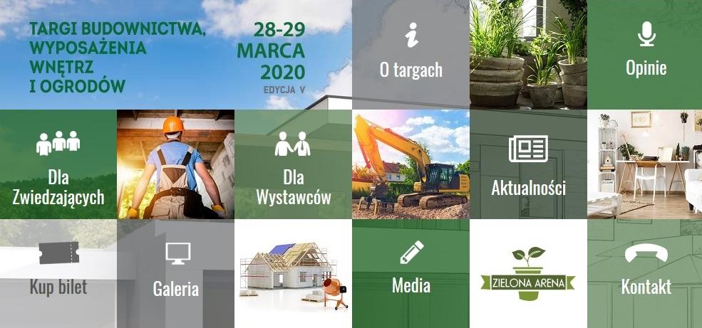 Plakat graficzny zapraszający do Ostródy na piątą odsłonę Targów Budownictwa Wyposażenia Wnętrz i Ogrodów Expo Mazury Ostróda 2020. Plakat przedstawiający 15 mniejszych zdjęć - miniatur, ułożonych w kwadraty. Sześć zdjęć przedstawiają tematykę budownictwa. Jedenaście zdjęć to grafiki o tematyce budownictwa.