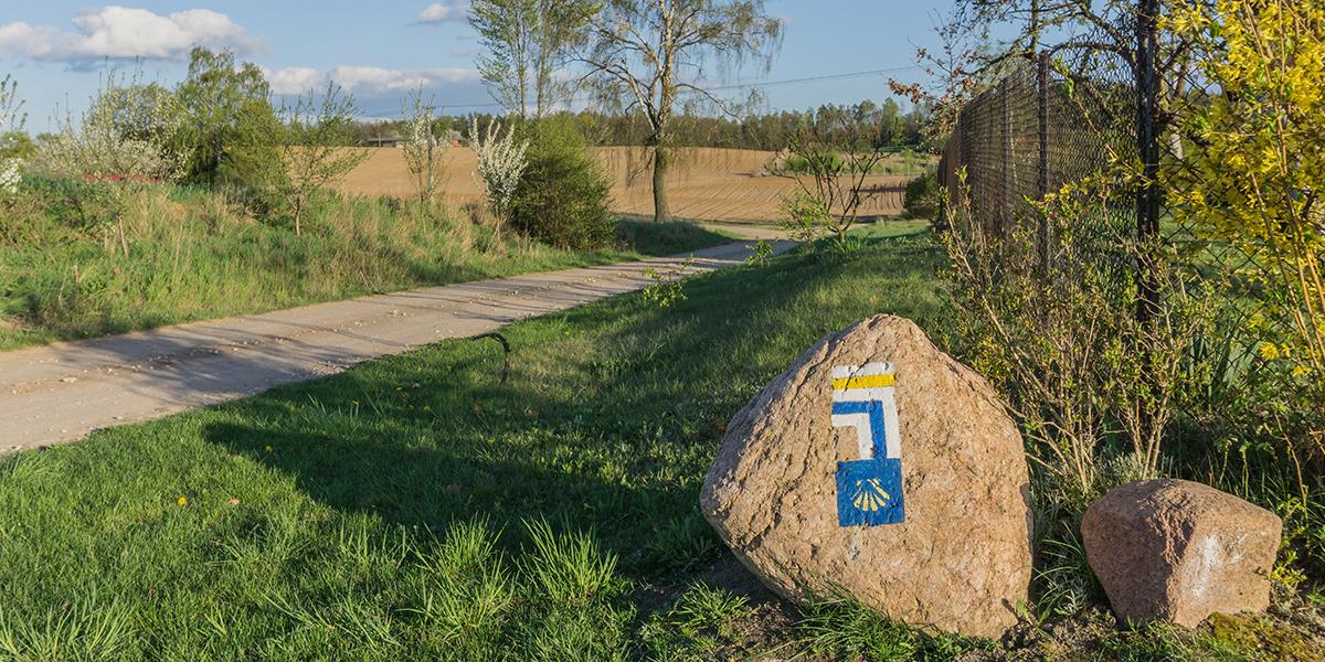 Kamień z oznaczeniami graficznymi ścieżki i szlaku pieszego położony przy drodze oznaczający prawidłowy kierunek marszu.