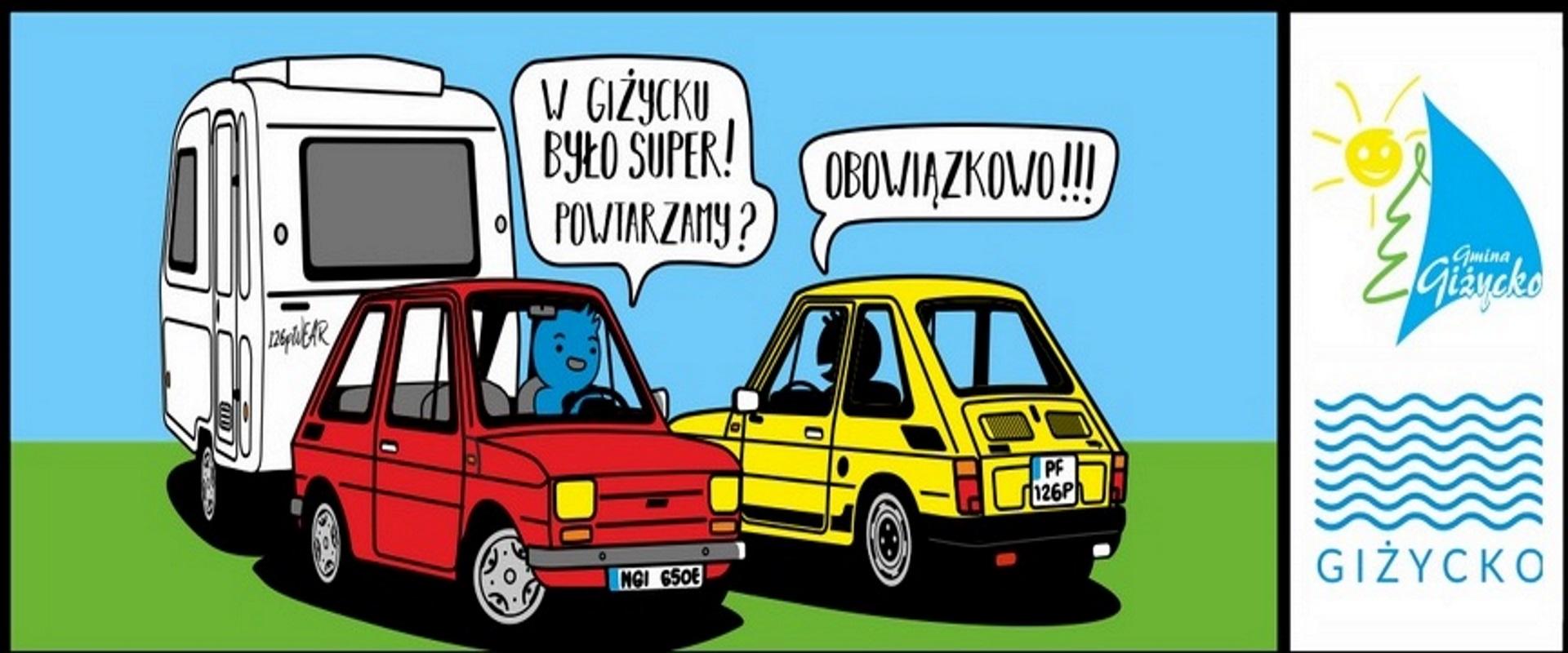 Zdjęcie, plakat zapraszający do Giżycka na kolejna edycję Mazurskich Spotkań Fiatów 126p Giżycko 2020. Na plakacie dwa małe fiaty w formie graficznej.