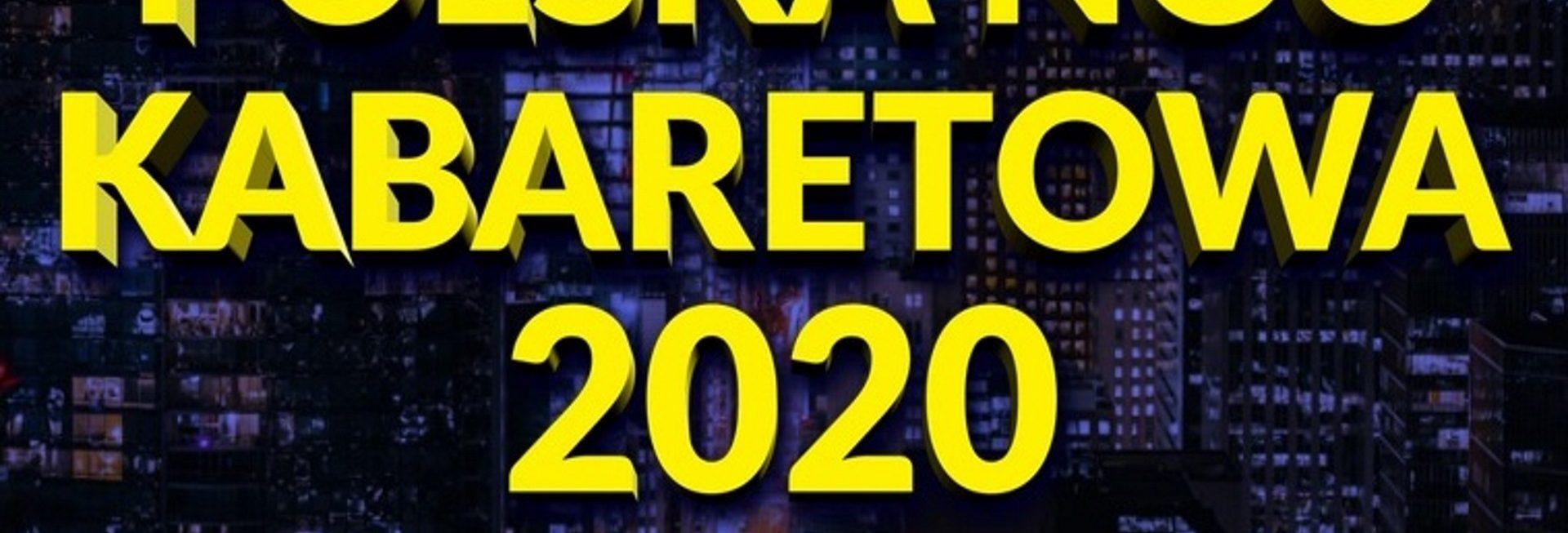 """Plakat graficzny zapraszający do Olsztyna na Polską Noc Kabaretową """"Śmiech w Wielkim Mieście"""" - Olsztyn 2020. Na plakacie napisy na tle zdjęcia miasta nocą."""