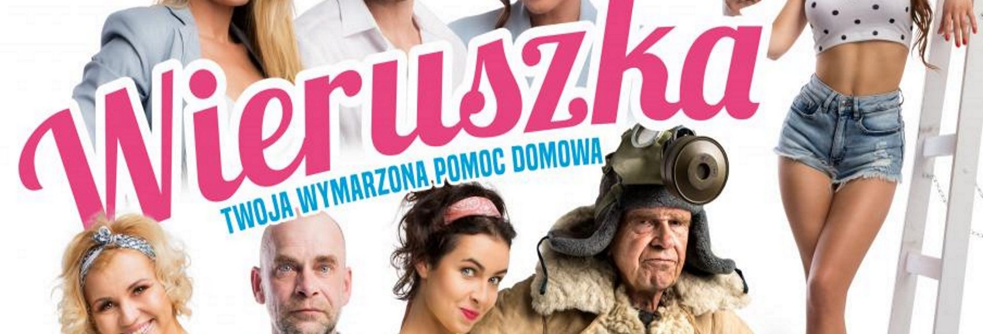 """Zdjęcie, plakat zapraszający do Olsztyna na seans teatralny """"Wieruszka, czyli Twoja wymarzona pomoc domowa"""". Na plakacie zdjęcia aktorów występujących w spektaklu."""