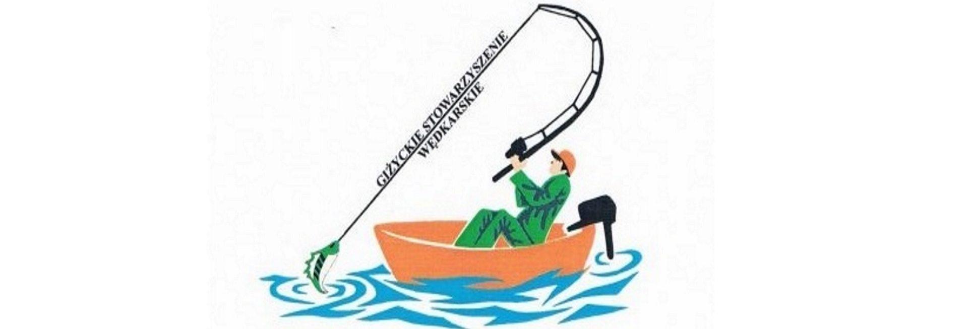 """Zdjęcie, plakat zapraszający do Giżycka na 22. edycję Zawodów Wędkarskich """"Drapieżnik"""" - Giżycko 2020. Grafika przedstawia wędkarza na łódce podczas łowienia ryb."""