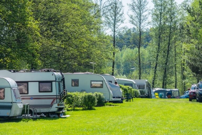 Camping Tumiany. Na zdjęciu na polanie przy drzewach widzimy rozstawione przyczepy kempingowe.