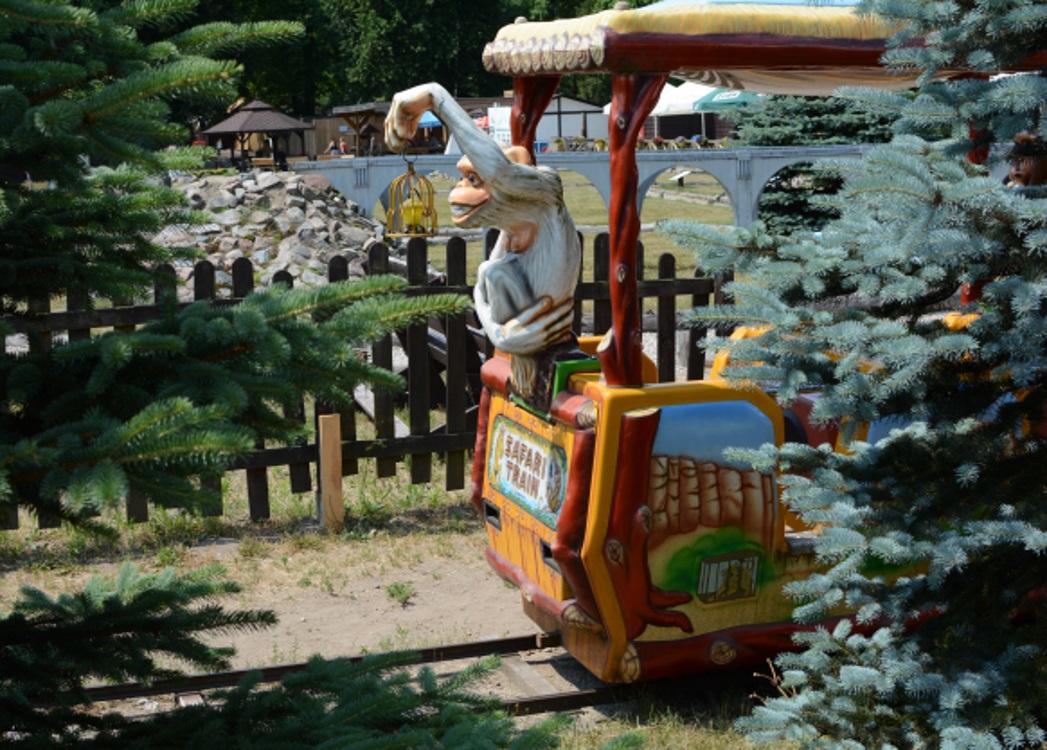 Mazurski Park Zabaw i Edukacji - Mazurolandia. Na zdjęciu kolejka dla dzieci, na przednim wagoniku kolejki siedzi małpka - posąg i zaprasza na przejażdżkę.