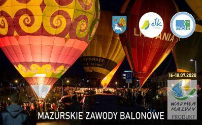 Zdjęcie przedstawia balony przygotowane do wylotupodczas imprezy nocnej w Ełku.