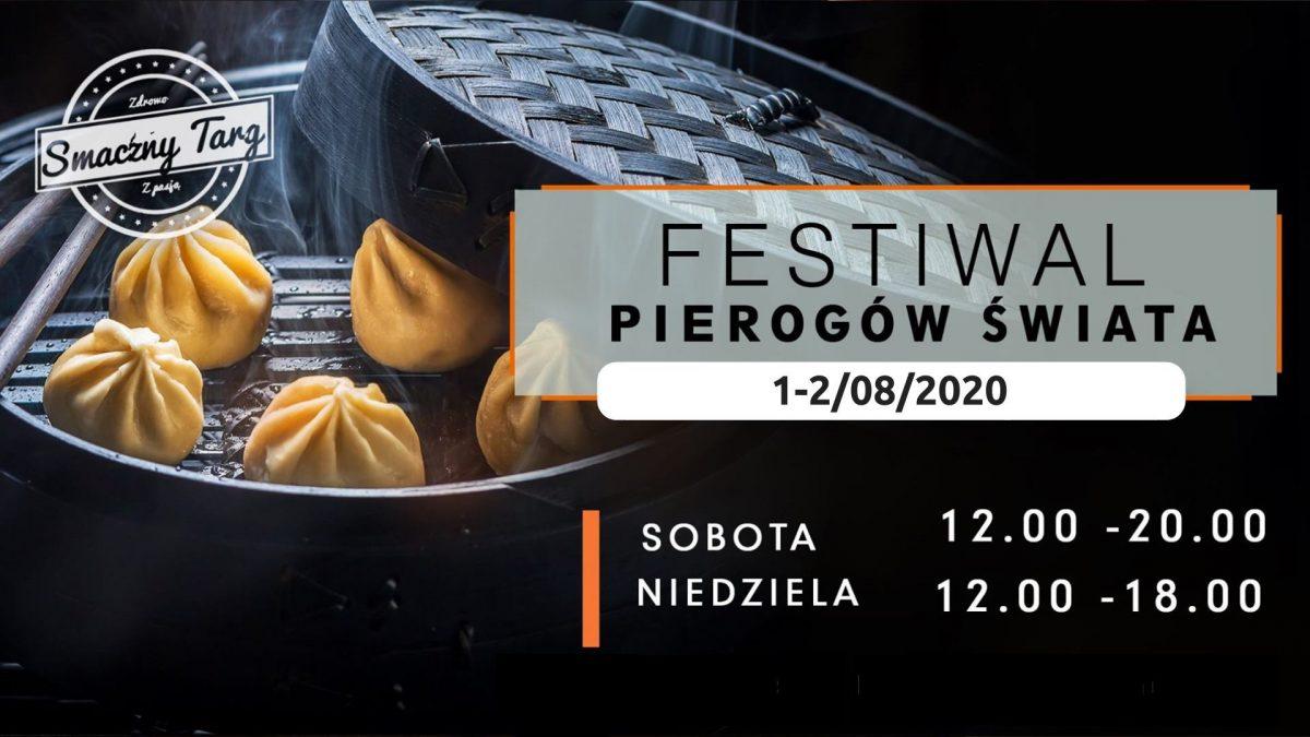 Plakat zapraszający do Mrągowa na I Festiwal Pierogów Świata Mrągowo 2020. Na plakacie zdjęcie pierogów w garnku pod przykryciem.