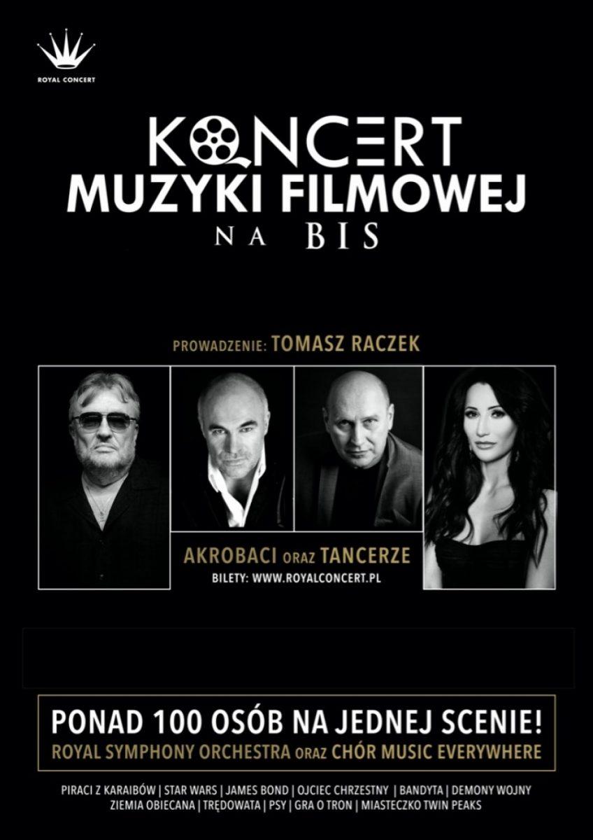 Plakat zapraszający na Koncert Muzyki Filmowej na BIS - Elbląg 2020. Plakat z czarnym tłem z czterema zdjęciami artystów, miedzy innymi z Justyną Steczkowską oraz Ryszardem Rynkowskim.