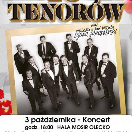Zdjęcie - plakat informujący o koncercie 10 Tenorów w Olecku. W centralnej części plakatu widoczne zdjęcie postaci10 tenorów występujących w Olecku.
