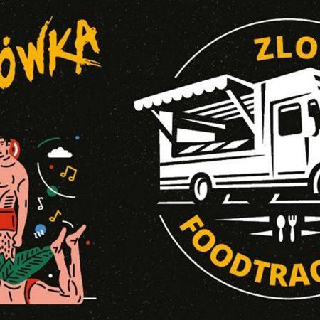 Plakat graficzny zapraszający do Olsztyna na Zlot Food Trucków na Plażówce Olsztyn Green Festiwal - Olsztyn 2020. Plakat podzielony jest na dwie części, po prawej stronie grafika auta foodtrackowego a po lewej stronie para wypoczywająca i zapraszająca na koncert plażówka.