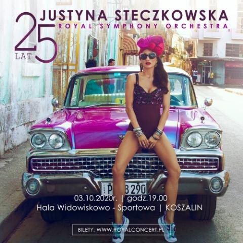 Plakat zapraszający na Koncert Jubileusz 25-lecia Justyny Steczkowskiej - Olsztyn 2020. Na plakacie piosenkarka Justyna Steczkowska siedząca na masce zabytkowego samochodu.