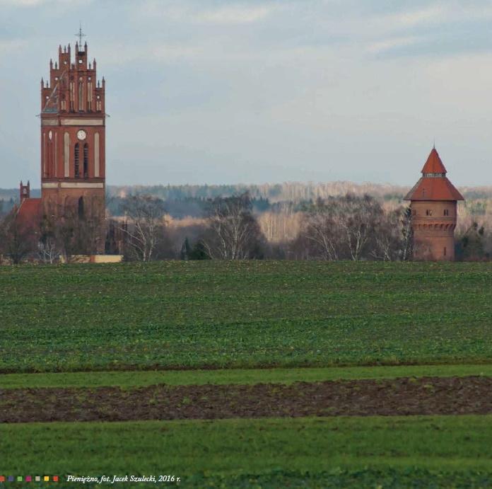 Widok od strony pól uprawnych na wieżę Kościoła św. Piotra i Pawła w Pieniężnie. Obok kościoła po prawej stronie znajduje się zabytkowa wieżą ciśnień.