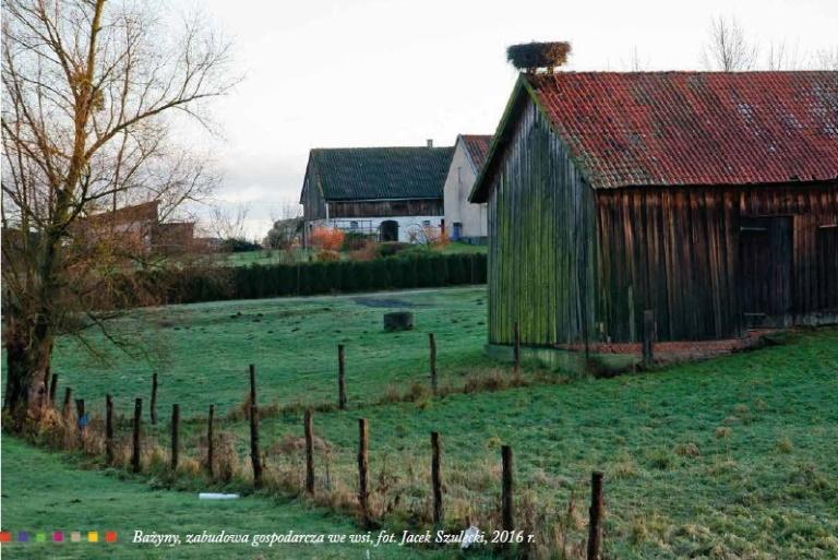 Zdjęcie przedstawia widok na stodołę i budynki mieszkalne we wsi Bażyny.