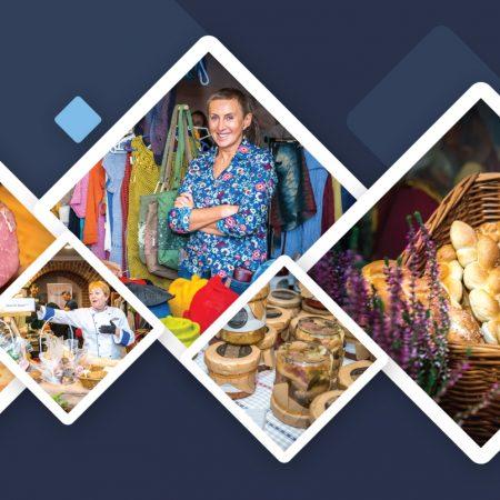 Plakat graficzny zapraszający w dniu 5 grudnia 2020 r. do Giżycka na 3. edycję MAZURSKIEGO KIERMASZU - lokalnie poukładanych smaków i rozmaitości 2020 - Hotel St. Bruno Giżycko. Na plakacie zdjęcia produktów regionalnych wystawianych podczas kiermaszu.