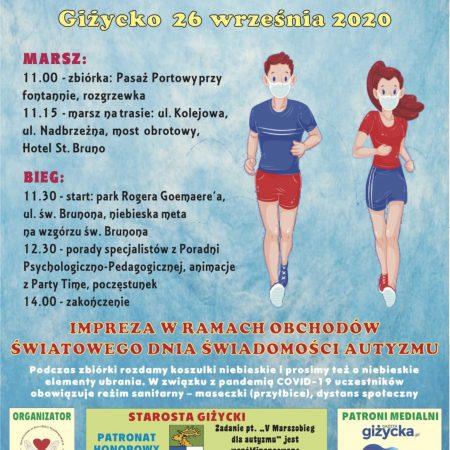 Plakat graficzny zapraszający w dniu 26 września 2020 r. do Giżycka na 5. edycję Marszobiegu dla Autyzmu - Giżycko 2020. Na plakacie program imprezy oraz graficzne postacie dwóch biegaczy.