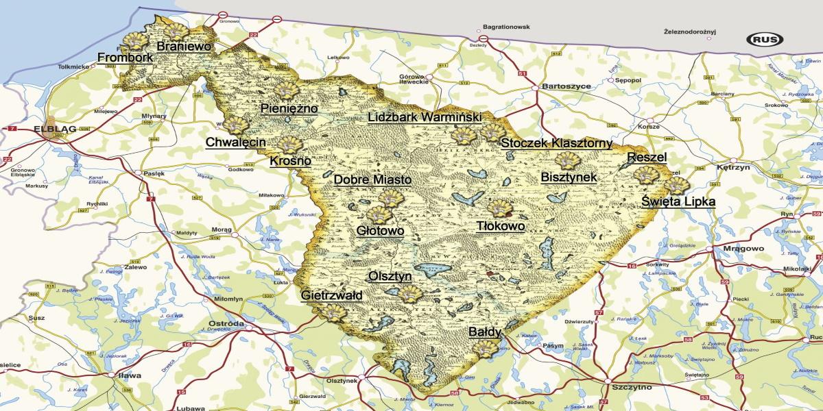Mapa Szlaku Św. Warmii narysowana na mapie Warmii i Mazur. Na mapie widoczna pogrubiona linia Szlaku oraz wyszczególnione miejscowości dawnego Szlaku.