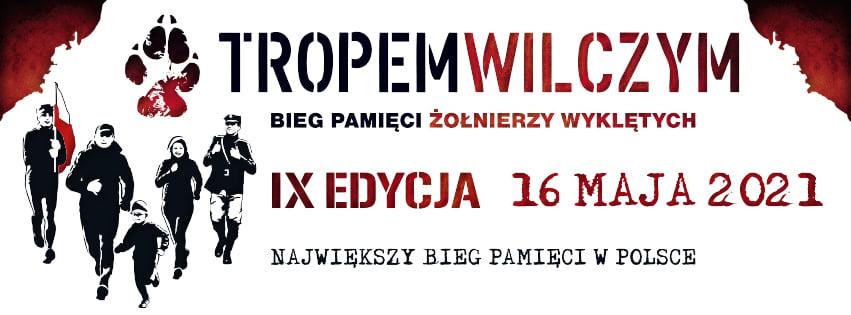 """Plakat graficzny zapraszający do Ełku na 9. edycję Biegu Pamięci Żołnierzy Wyklętych """"Tropem Wilczym"""" – Ełk 2021. Na plakacie napisy z datą imprezy."""