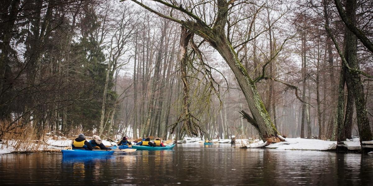 Zimowy spływ kajakowy rzeką Łaźna Struga. Na zdjęciu widzimy dwa kajaki płynące rzeką podczas zimowego spływu.