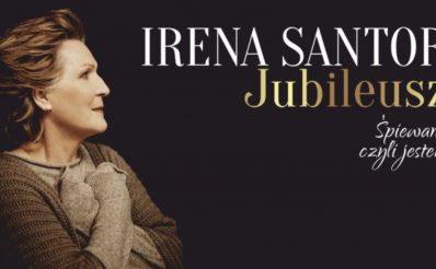 """Zdjęcie - plakat na którym jest widoczna na czarnym tle postać piosenkarki Ireny Santor oraz napis z informacją zapraszający na koncert Jubileusz """"Śpiewam czyli jestem""""."""