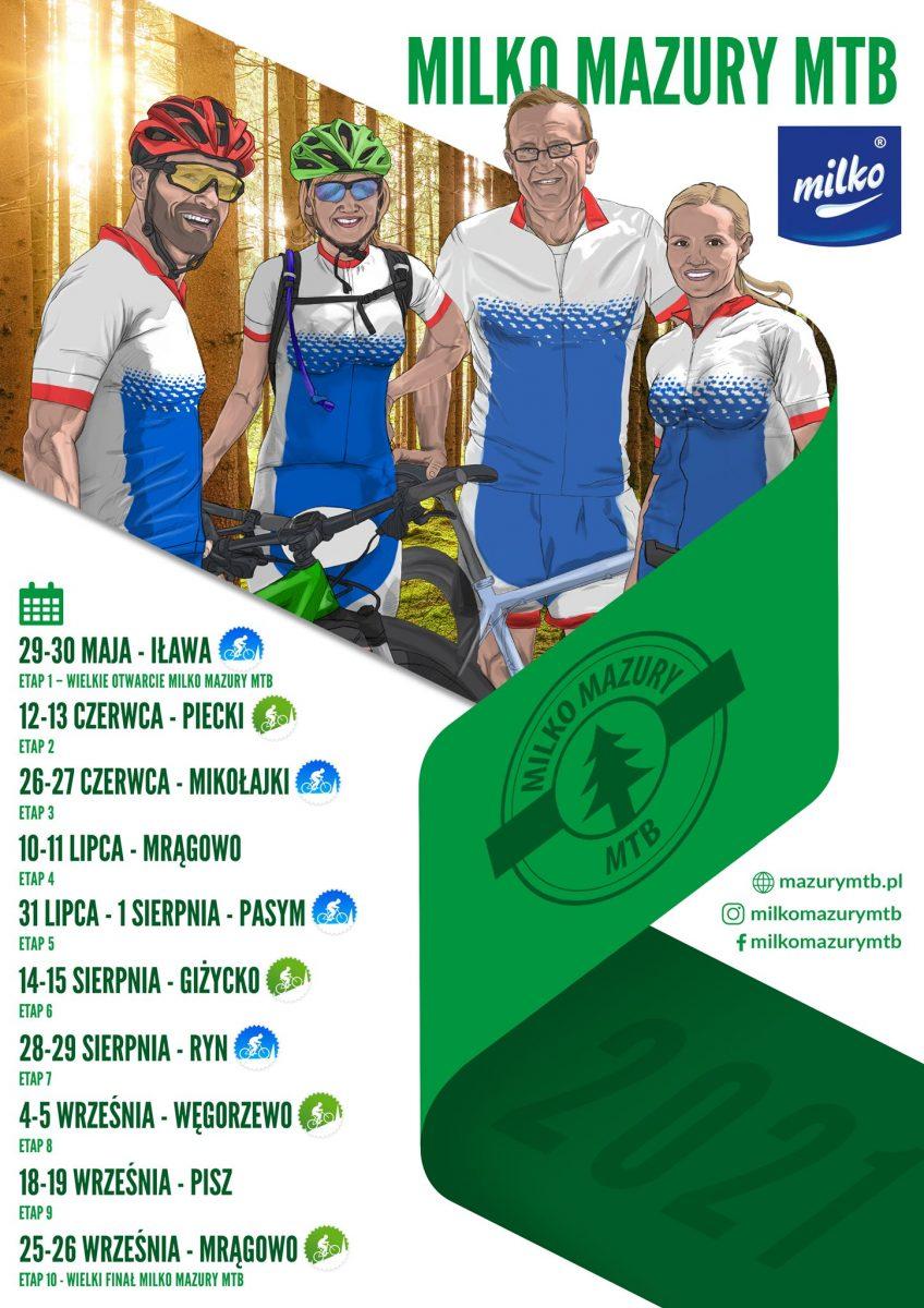 Plakat graficzny zapraszający na cykl wyścigów Milko Mazury MTB. Na plakacie w postaci graficznej cztery osoby, dwie kobiety i dwóch mężczyzn ubranych w sportowe stroje zapraszające na imprezę sportową. Poniżej wypisany harmonogram imprez MILKO MAZURY MTB na rok 2021.