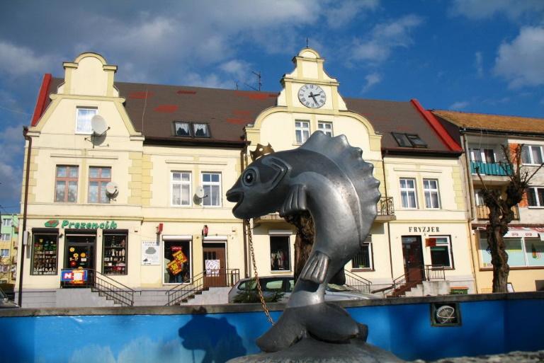Fontanna Króla Sielaw w centrum Mikołajek.