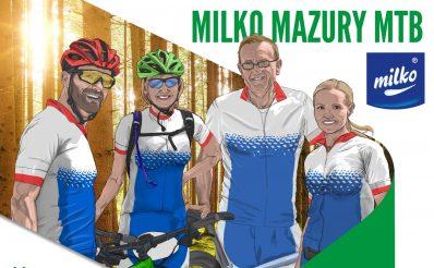 """Plakat graficzny zapraszający do Iławy na 1 Etap wyścigu Milko Mazury MTB - Iława 2021 """"Wyścig Pięciu Jezior"""". Na plakacie w postaci graficznej cztery osoby, dwie kobiety i dwóch mężczyzn ubranych w sportowe stroje zapraszające na imprezę sportową."""
