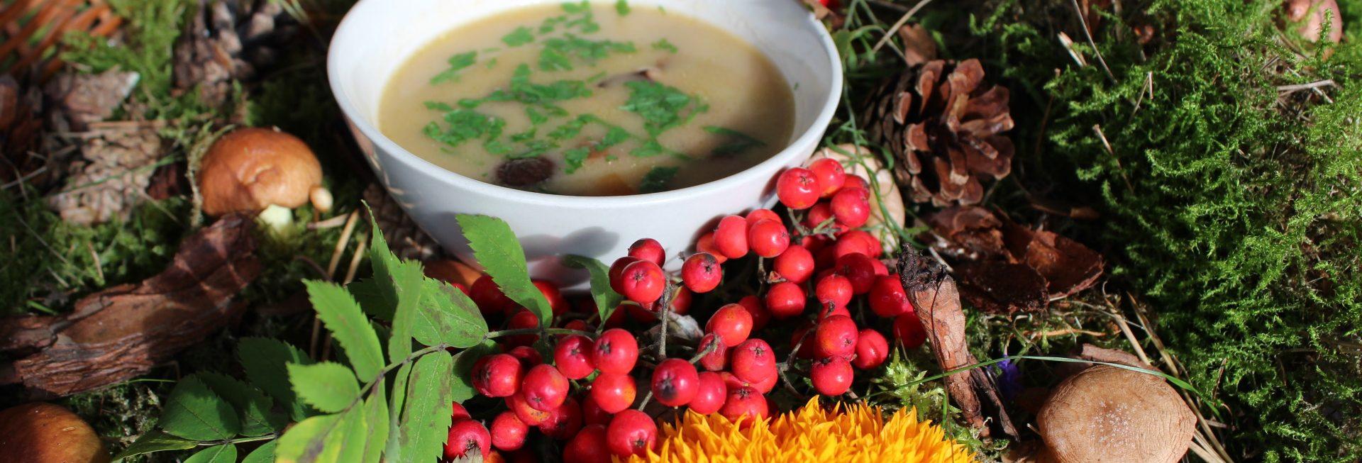 Na zdjęciu wiklinowy koszyk w którym znajdują się owoce runa leśnego - grzyby, jagody. W środku koszyka mały talerz z żurkiem.