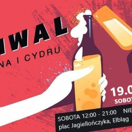 Plakat graficzny zapraszający do Elbląga na Festiwal Piwa, Wina i Cydru - Elbląg 2021.