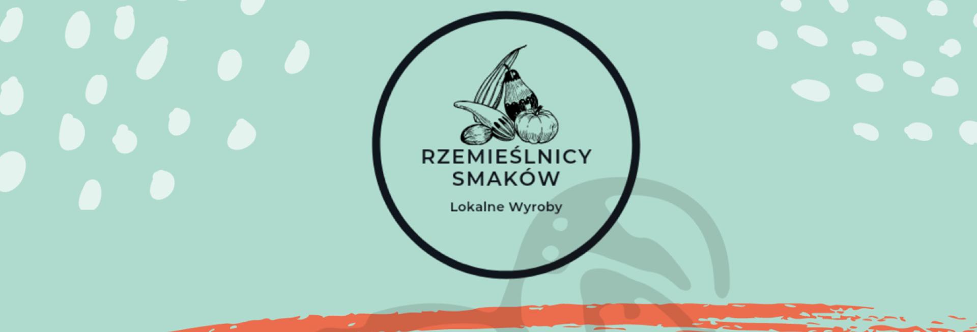 Logo graficzne Rzemieślników Smaków Lokalne Wyroby Olsztynek. W zakreślonym kółku narysowane warzywa i owoce.
