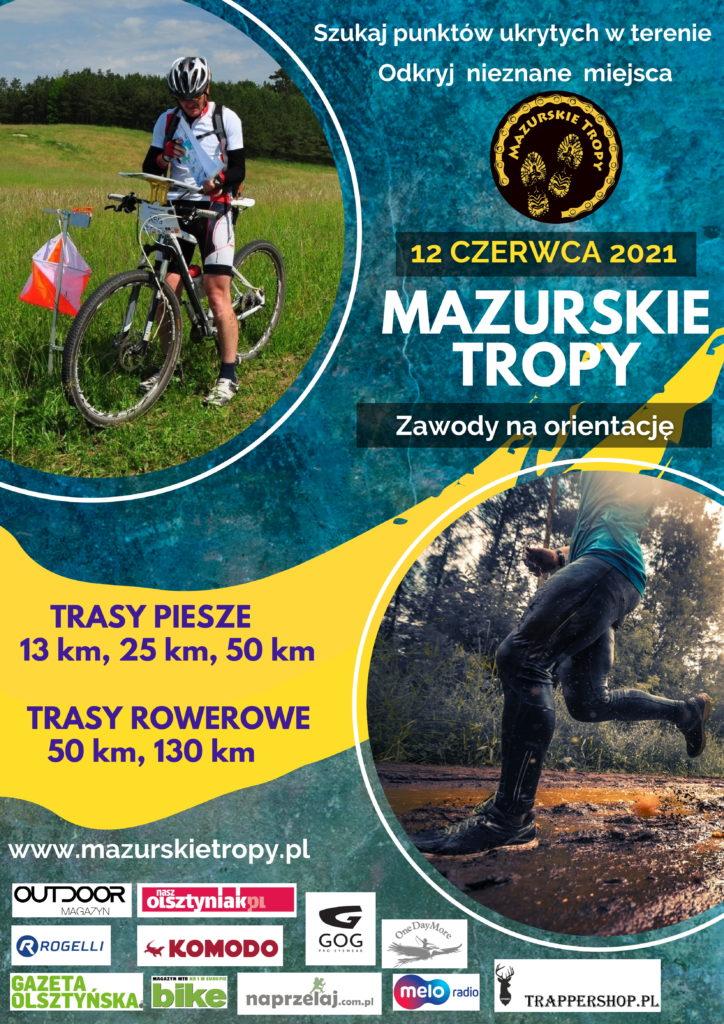 Plakat graficzny zapraszający do Stawigudy na 8. edycję Mazurskie Tropy - Stawiguda 2021. Na plakacie dwa zdjęcia, rowerzysty i biegacza oraz napisy zapraszające na zawody. Poniżej plakatu wyszczególnieni sponsorzy zawodów.