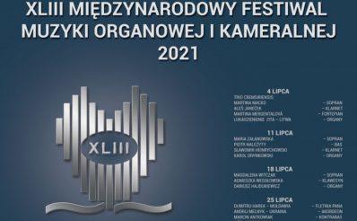 Plakat graficzny zapraszający do Giżycka na Międzynarodowy Festiwal Muzyki Organowej i Kameralnej - Giżycko 2021. Na plakacie program koncertów w lipcu oraz graficzna imitacja trąbek organowych.