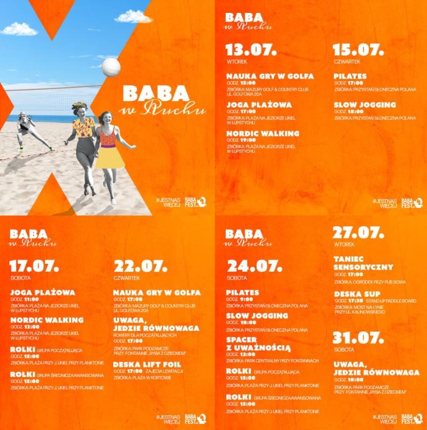 Plakat graficzny zapraszający Olsztyna na warsztaty z cyklu Baba w Ruchu, spotkania, koncerty i warsztaty - Olsztyn 2021. Na plakacie zdjęcie trzech kobiet. Jedna gra w siatkę a dwie biegną po plaży. Tło plakatu  pomarańczowe. Na plakacie szczegółowy program warsztatów w miesiącu lipcu.