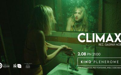 Zdjęcie z filmu Climax zapraszające do Olsztyna na cykliczną imprezę Kino Plenerowe Olsztyn 2021. Na zdjęciu widzimy aktorkę przed lustrem w łazience myjącą ręce.