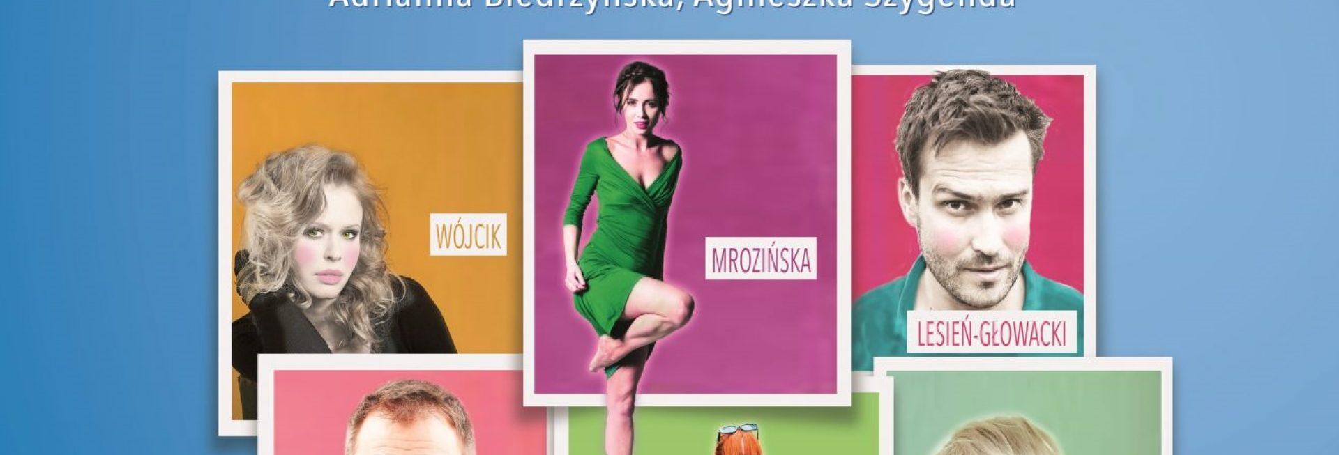 """Plakat graficzny zapraszający na komedię romantyczną """"Miłosna pułapka"""" 2021. Na plakacie zdjęcia aktorów występujących w spektaklu."""