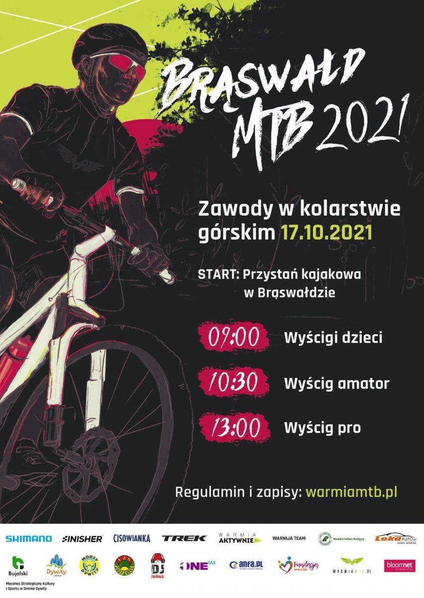 Plakat graficzny zapraszający do Brąswałdu na Zawody MTB - Brąswałd 2021.